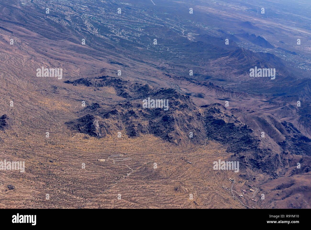 Aerial view mountains and desert outside Phoenix AZ, USA - Stock Image