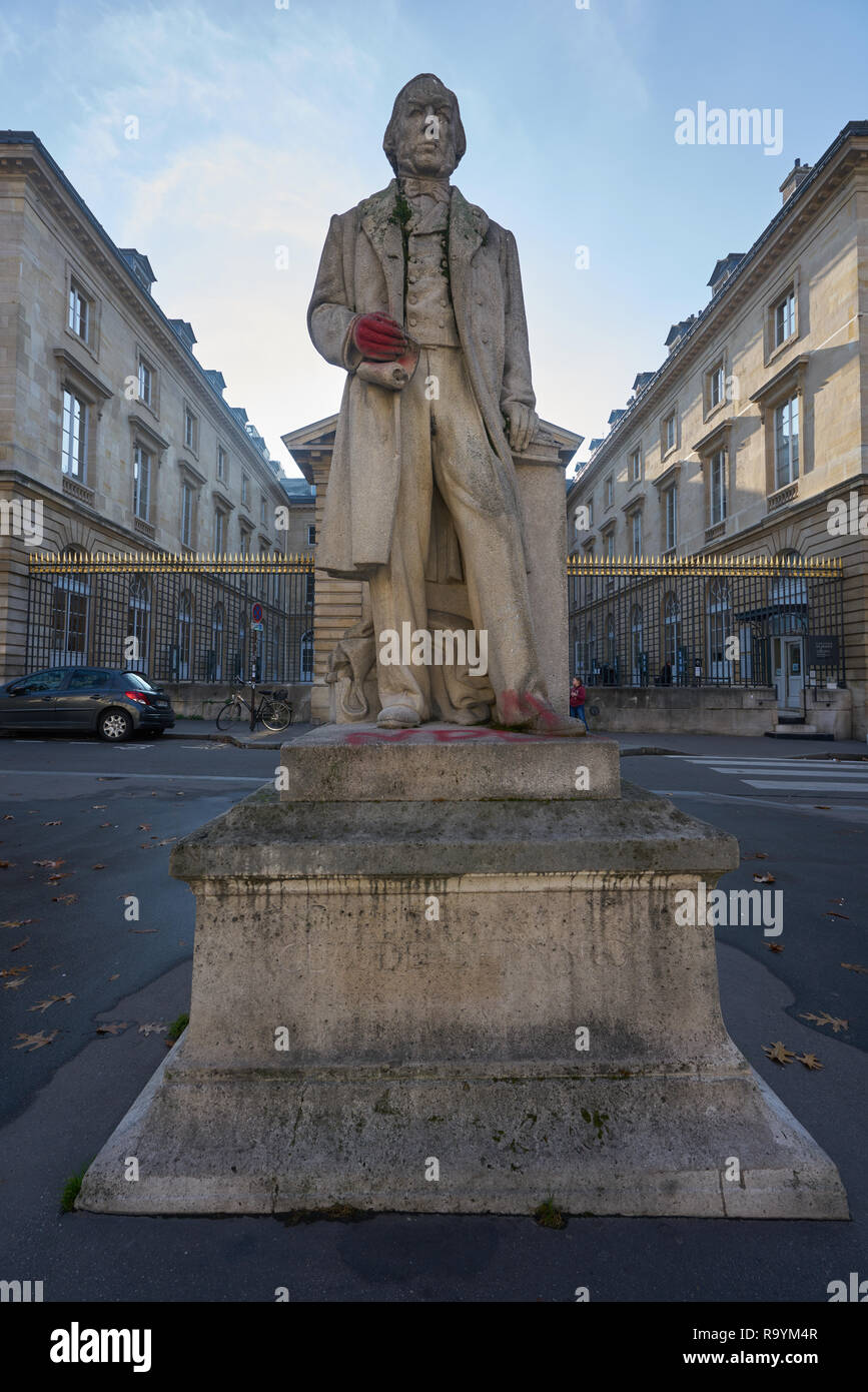 Claude Bernard statue at the College de France Stock Photo