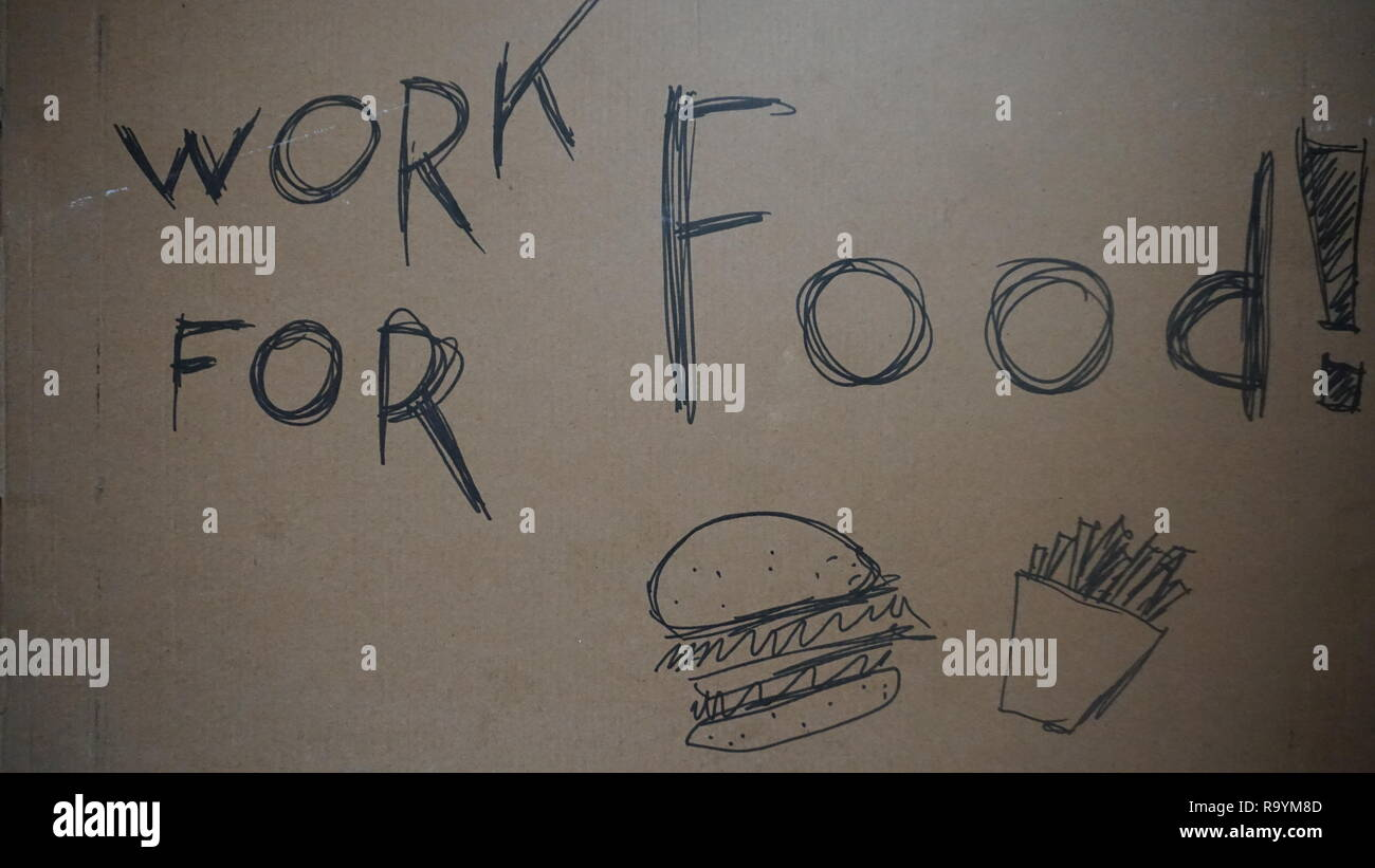 carton labeled working for food, painted burger - Stock Image