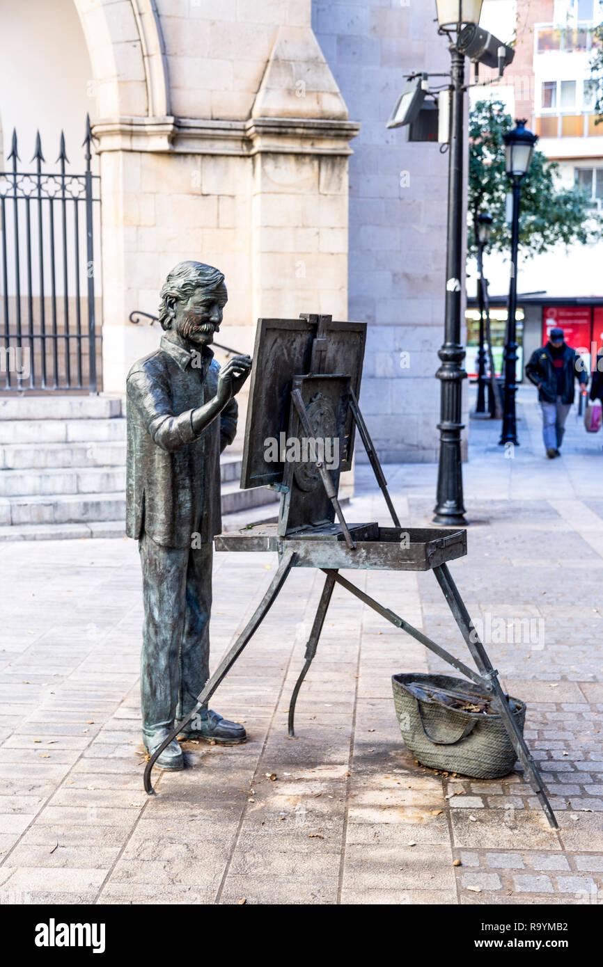 Bronze Sculpture Of Artist Painting By Cathedral Del Santa Maria Tribute To Artist Juan Jose Salas By Carlos Vento Castellon De La Plana Spain Stock Photo Alamy