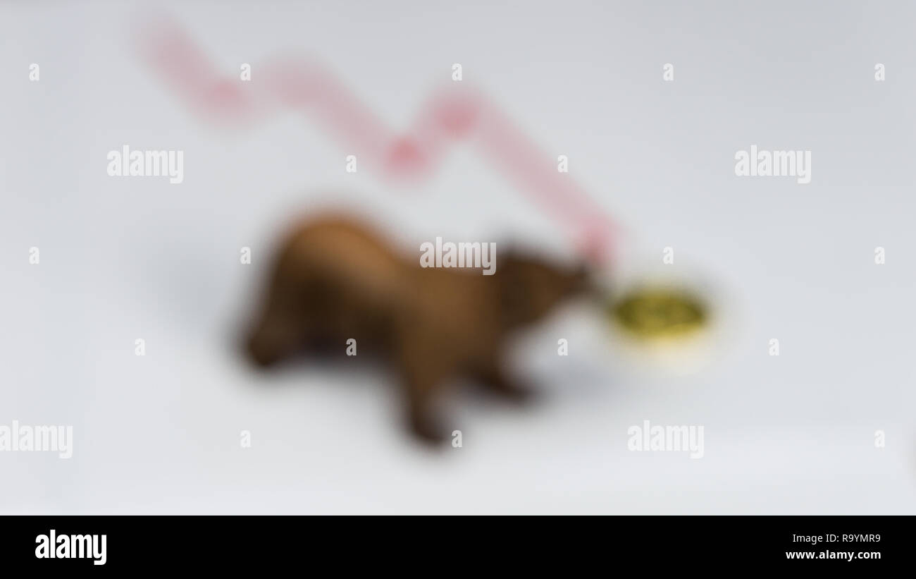 Bear With Gold Bitcoin Cryptocurrency and red graph. Bear Market Wall Street Financial Concept. - Stock Image