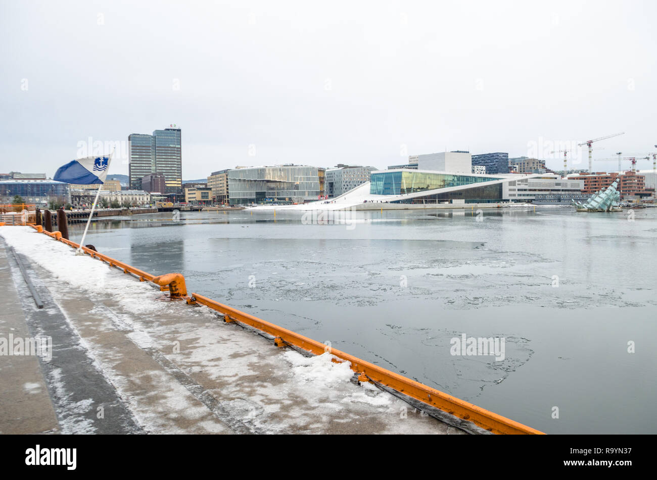 Winter cold view of Oslo Opera House. - Stock Image