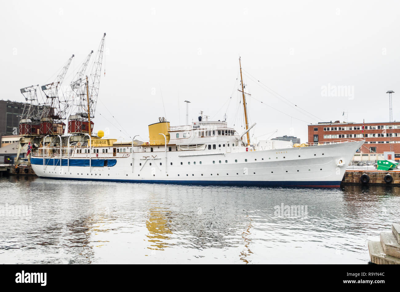 HNoMY Norge- the Royal Yacht of the King of Norway- at her home port of Oslo, in winter seasonal break. - Stock Image