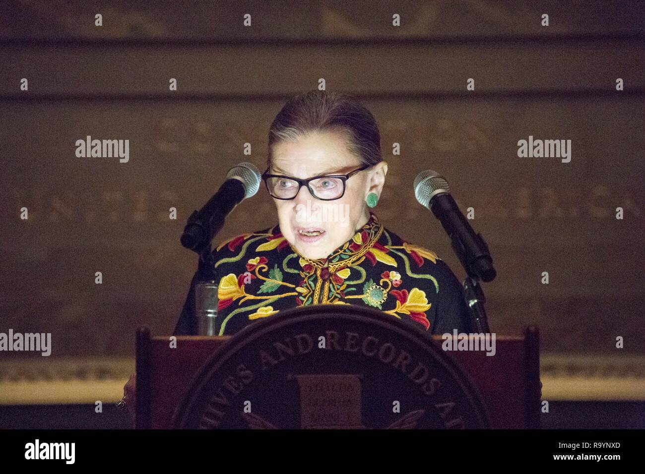 U.S Supreme Court Justice Ruth Bader Ginsburg speaks during an immigration Naturalization Ceremony on Bill of Rights Day at the National Archives December 14, 2018 in Washington, D.C. - Stock Image