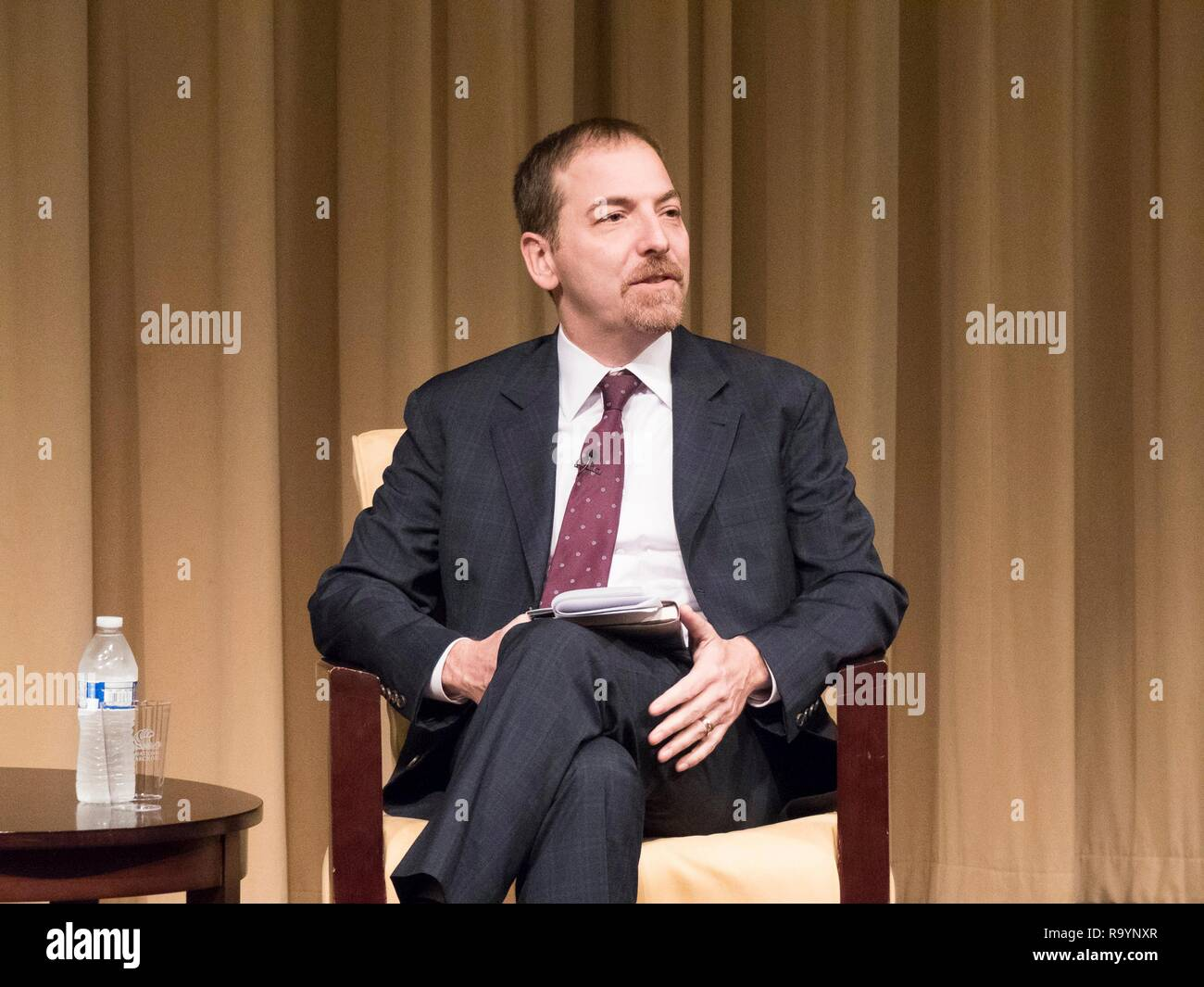 Chuck Todd, host of NBC Meet the Press during a discussion with author Stephen Hess at the National Archives December 4, 2018 in Washington, D.C. - Stock Image