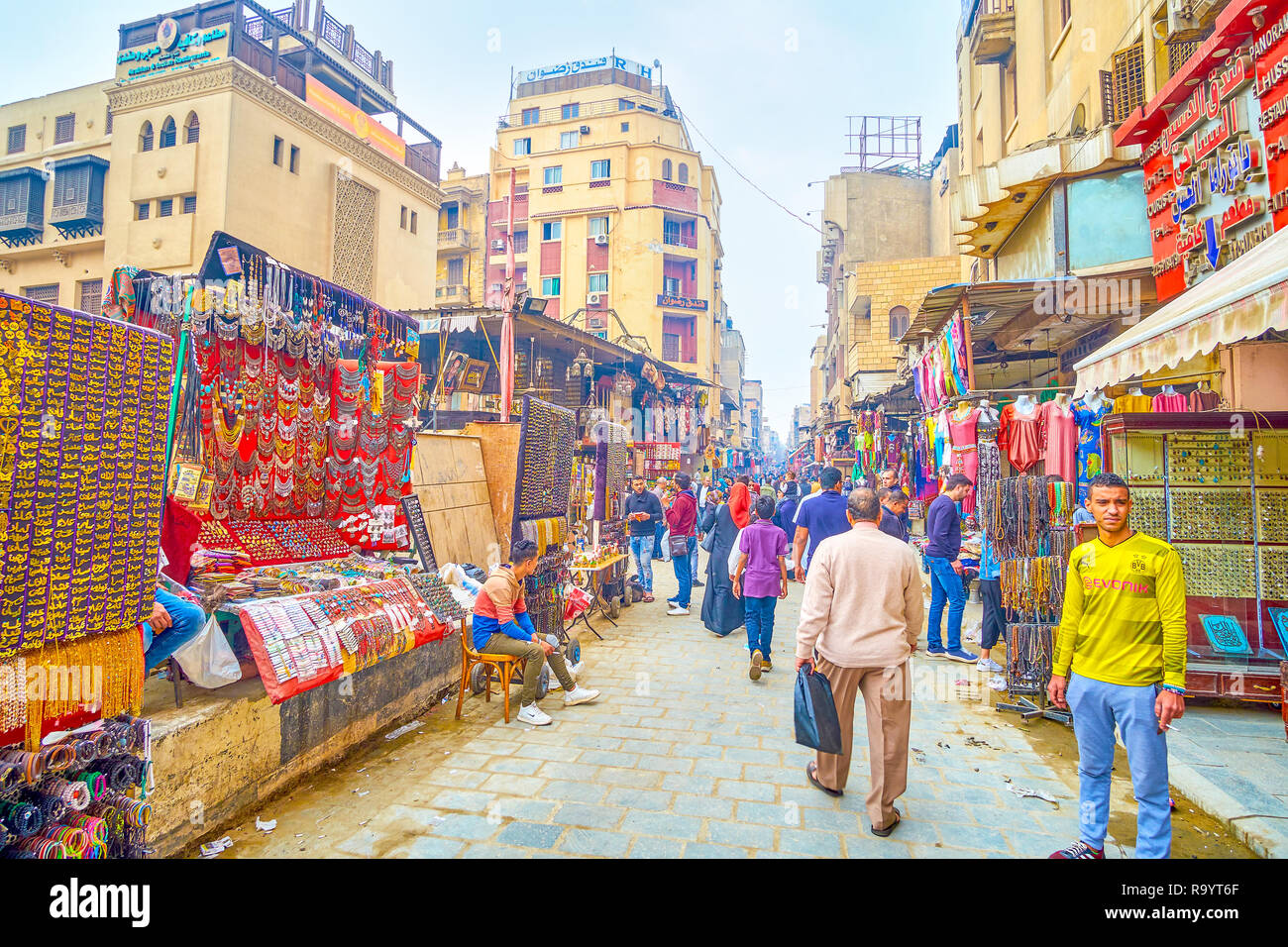 CAIRO, EGYPT - DECEMBER 20, 2017: The goldsmith district of