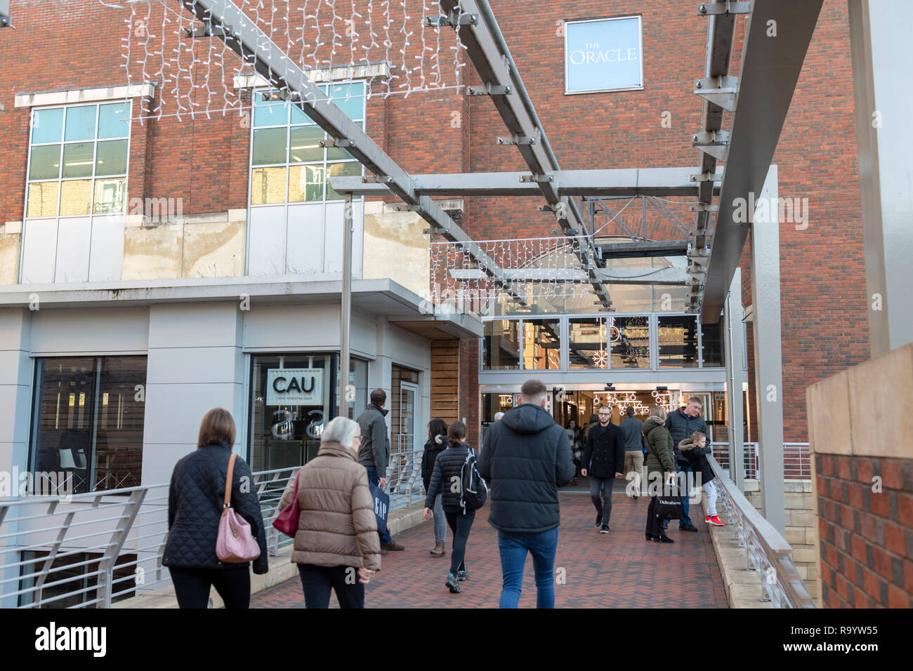 Oracle shopping centre in Reading, UK, entrance Stock Photo