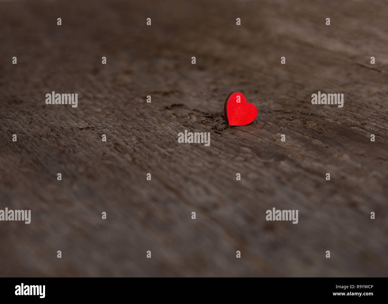 Single small wooden red heart on an old dry wooden board for Valentine's Day close up - Stock Image