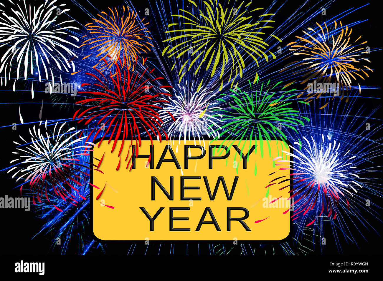 Happy new year text on yellow sign with fireworks in the night sky - Stock Image