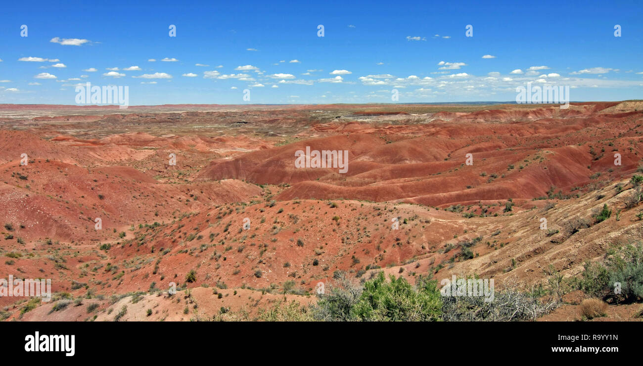 The Painted Desert, Petrified Forest National Park, Arizona, under a cloudless summer sky. Stock Photo