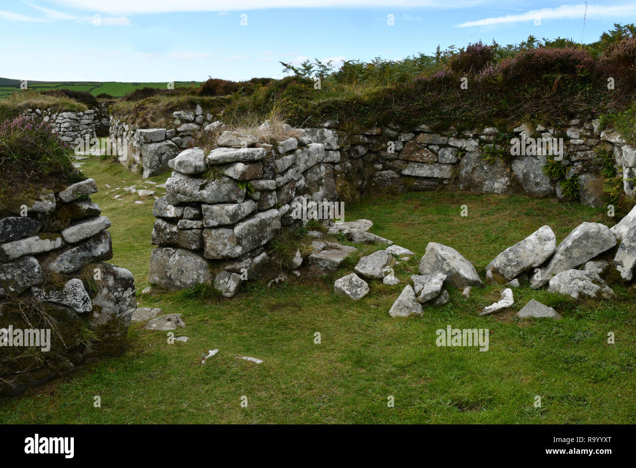 Chysauster.  Romano-British settlement,  occupied from middle Iron Age  until the end of the Roman occupation 4th century AD. Courtyard village. Stock Photo