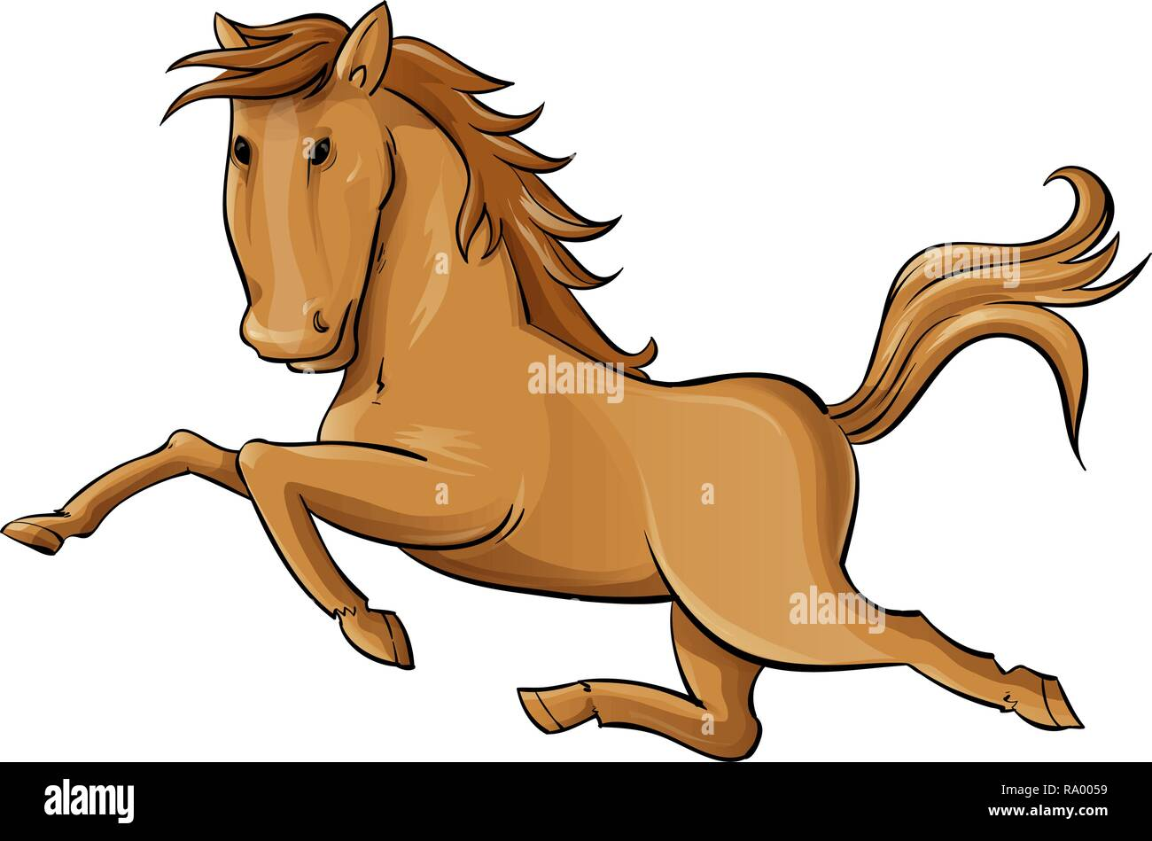 Galloping Cartoon Horse . vector illustration isolated on white background - Stock Image