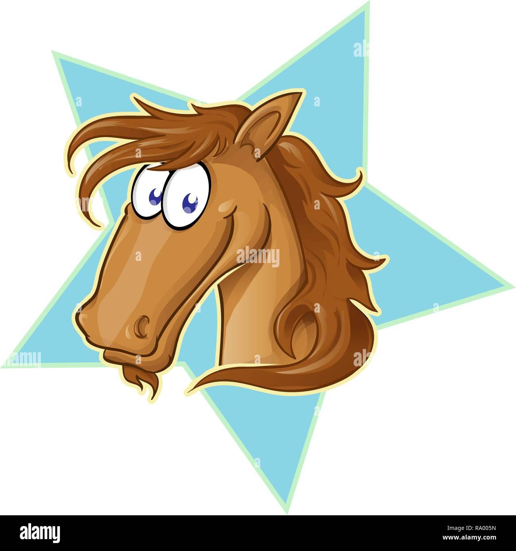 Brown Horse face  cartoon . Vector Illustration on star - Stock Image
