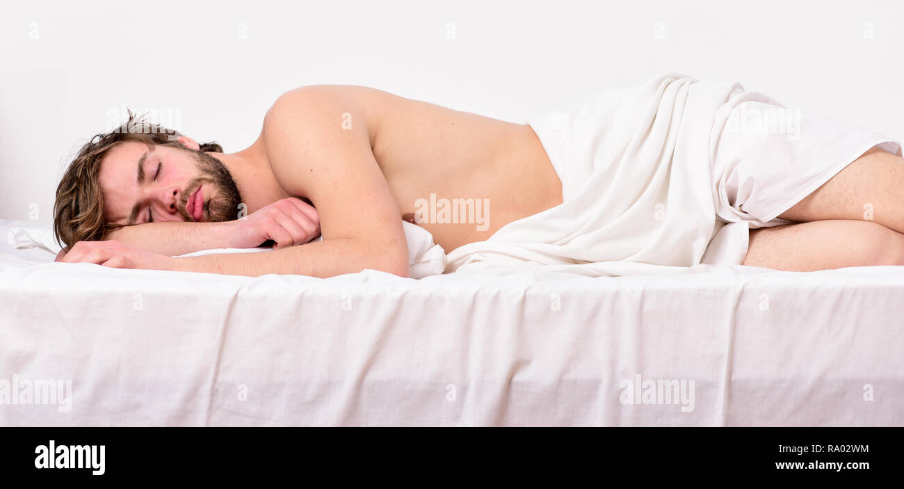 Time for nap. Sleep and relax concept. Feel comfortable and relax. Man handsome guy sleep. Sleep is vital to your physical and mental health. - Stock Image