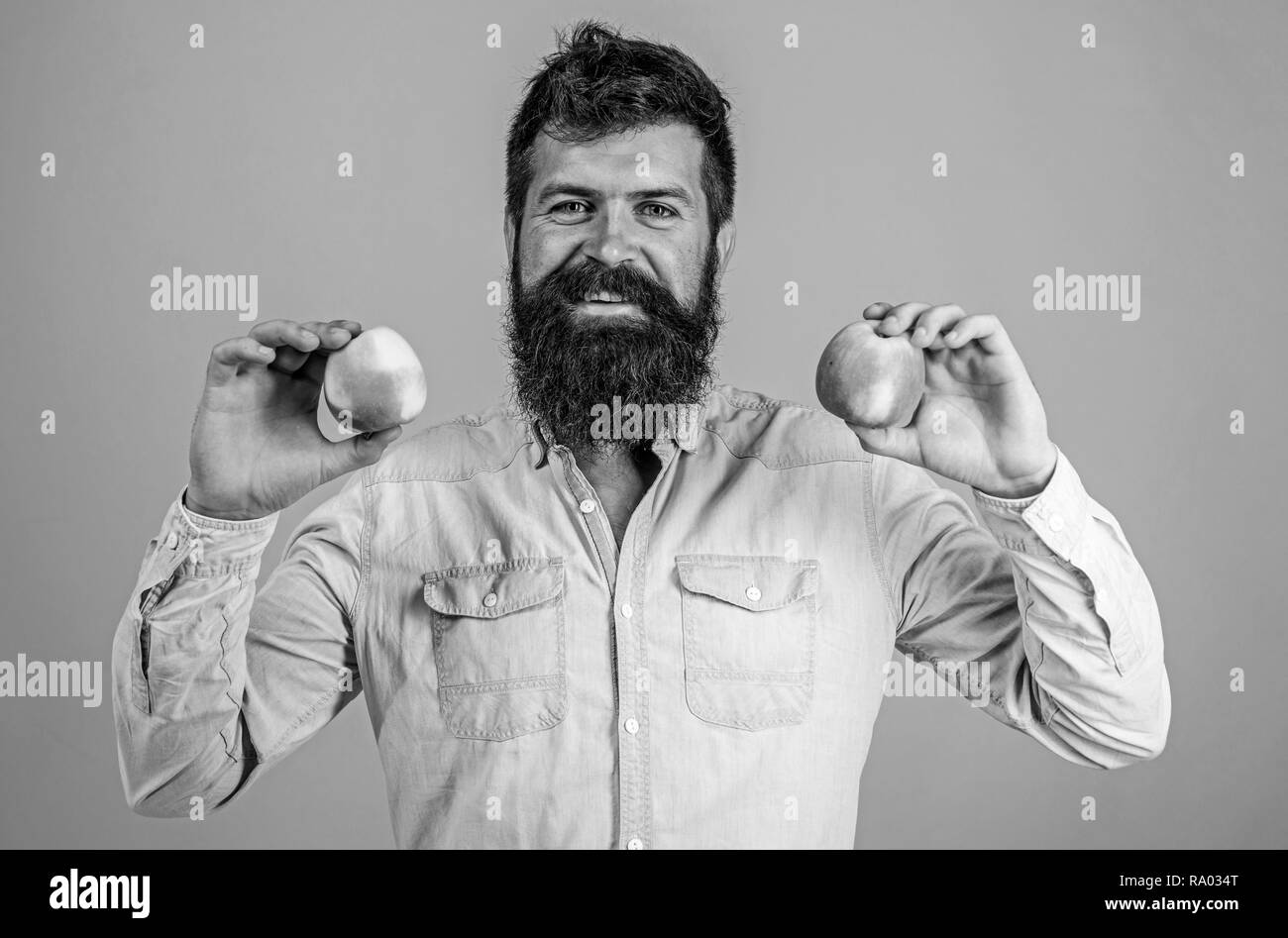 Nutritional choice. Man with beard hipster hold apple fruit in hand. Nutrition facts and health benefits. Apples popular type fruit in world. Apples antioxidant compounds responsible health benefits. - Stock Image