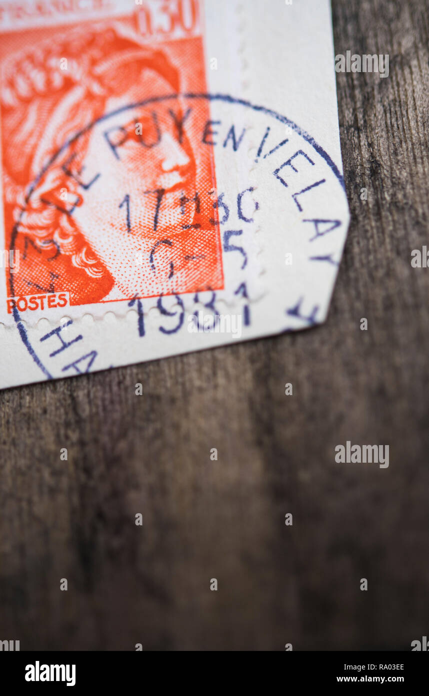Used French stamp with postmark - Stock Image