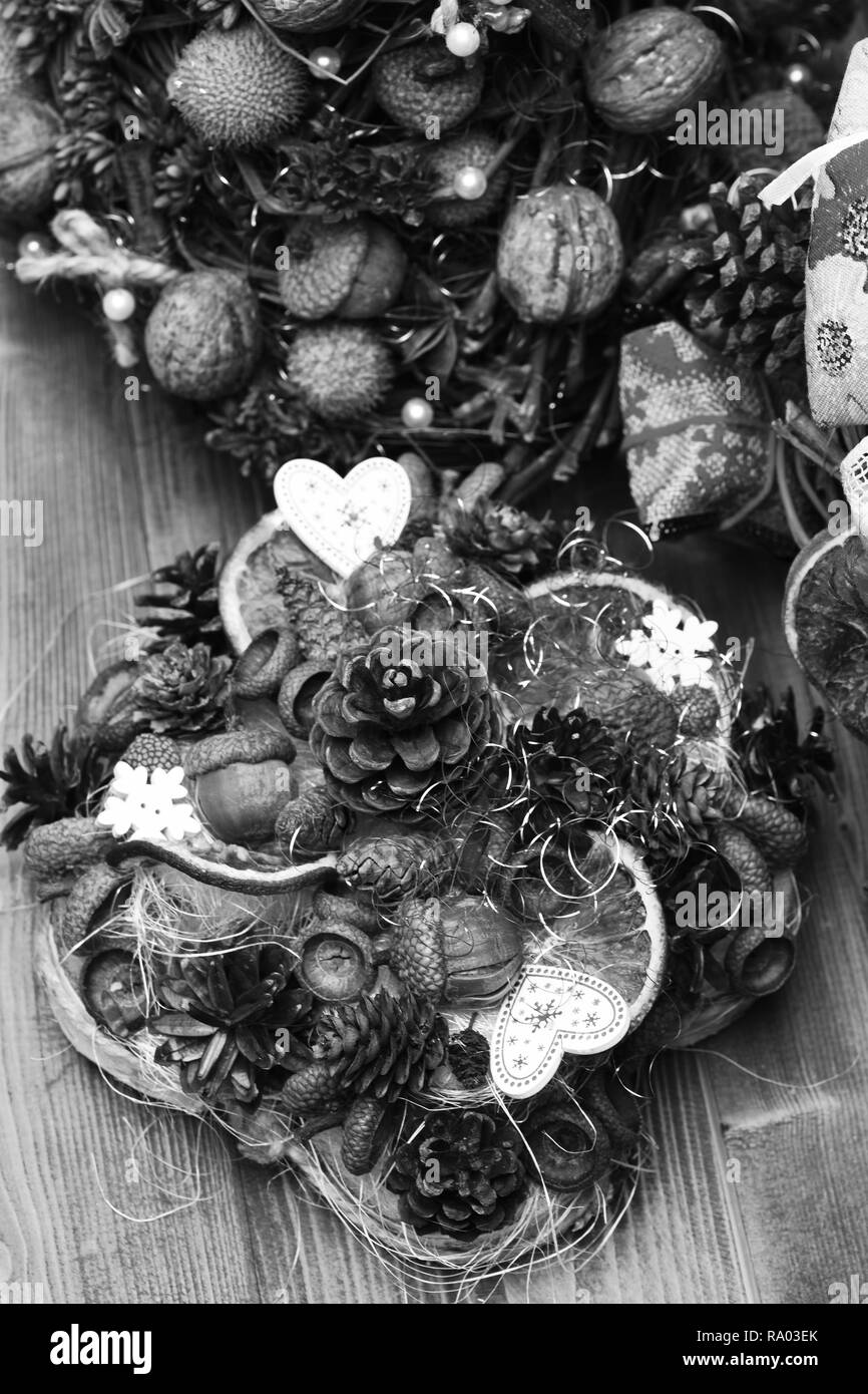Table Decorations On Wooden Background Fir Tree Cones Nuts Acorns