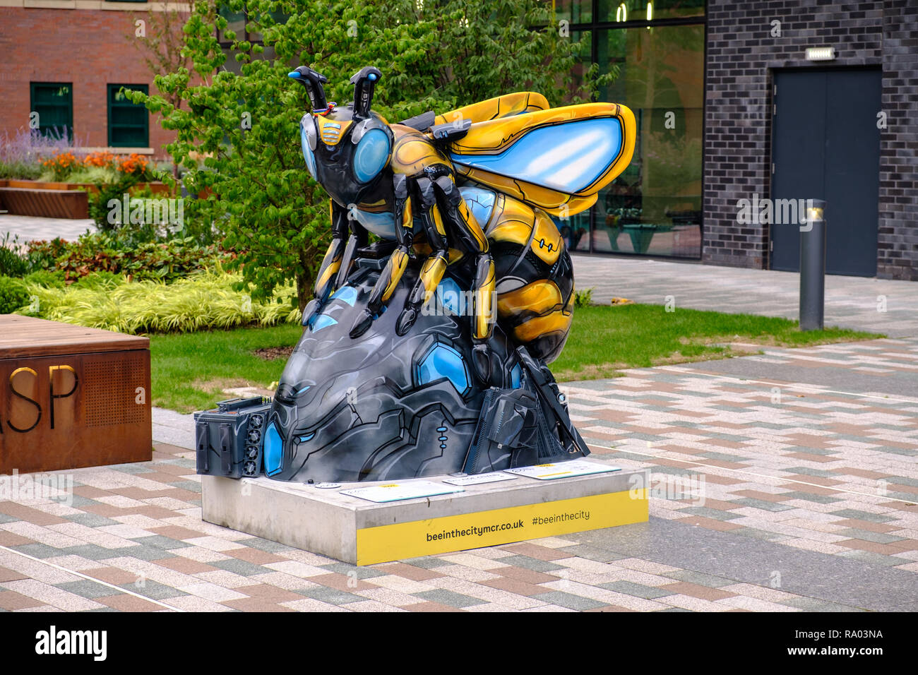 A Bee in the City sculpture, part of the summer 2018 public art event in the City of Manchester, UK - Stock Image