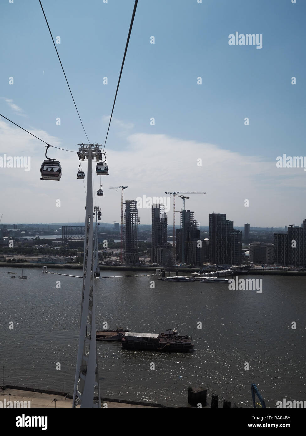 Aerial view of East London from cable car - Stock Image