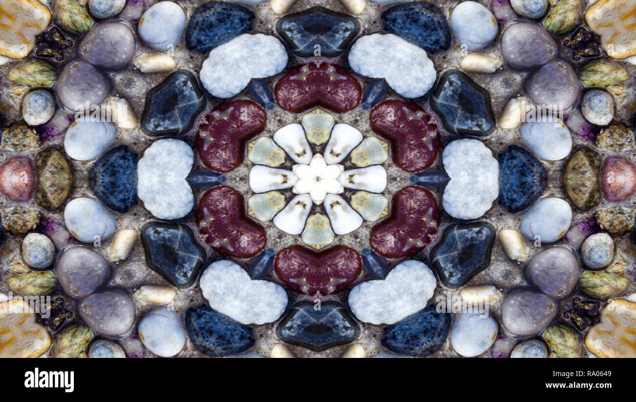 Abstract Colorful Stones  Concept Symmetric Pattern Ornamental Decorative Kaleidoscope Movement Geometric Circle and Star Shapes - Stock Image