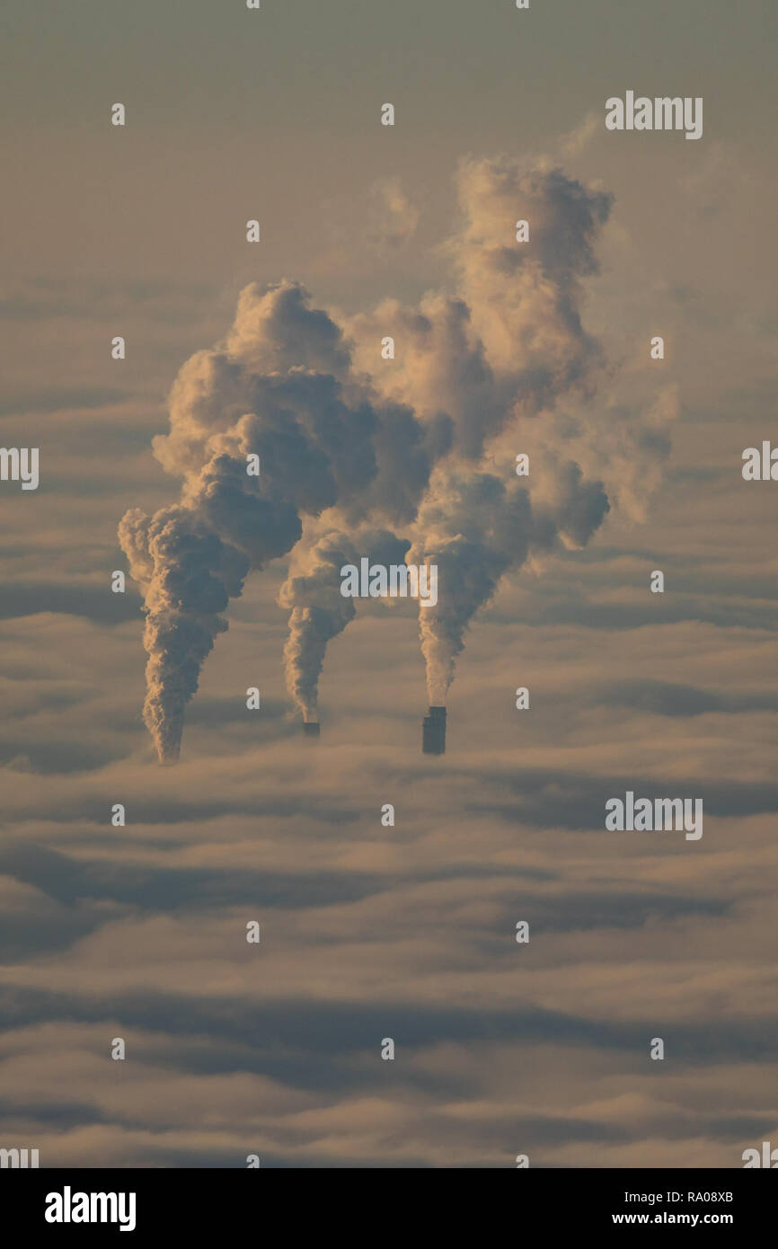 smoky smokestacks poking out of sea of fog in the Upper Rhine plain in the Rhine-Neckar metropolitan area, Mannheim, Baden-Wuerttemberg, Germany - Stock Image