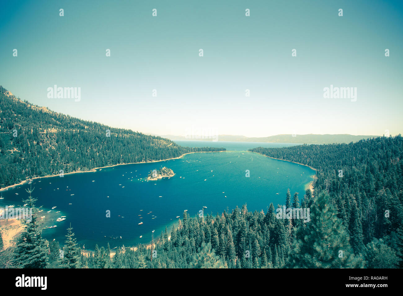 Emerald Bay Lake Tahoe California with a vintage tone effect Stock Photo