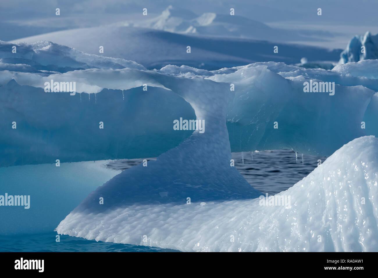 Antarctica, Antarctic peninsula, Gerlach Straight, Wilhelmina Bay in the Enterprise Island area. Stock Photo