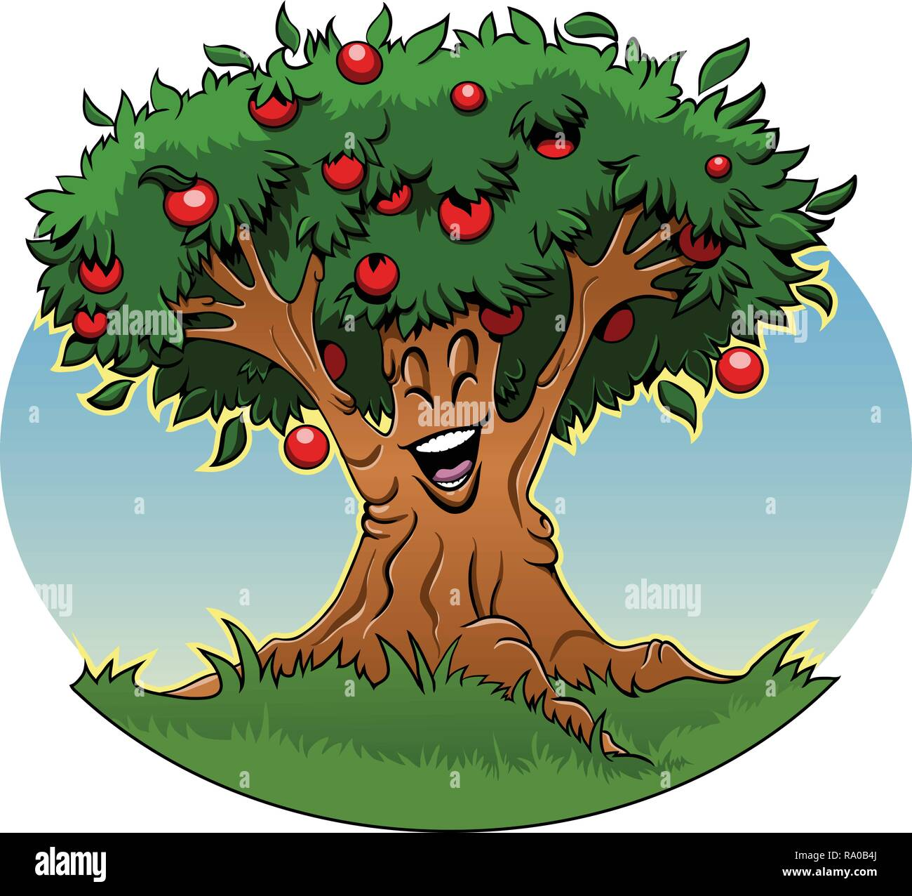 Cartoon illustration: Smiling apple tree spreading its branches - Stock Image