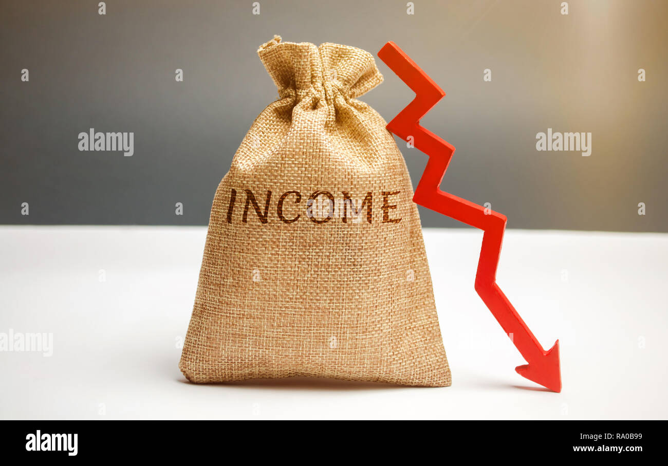 Money bag with word Income and down arrow. Reduced revenue and profits. Reduced budget. Loss of money. Unsuccessful business and poverty. Lower salary - Stock Image