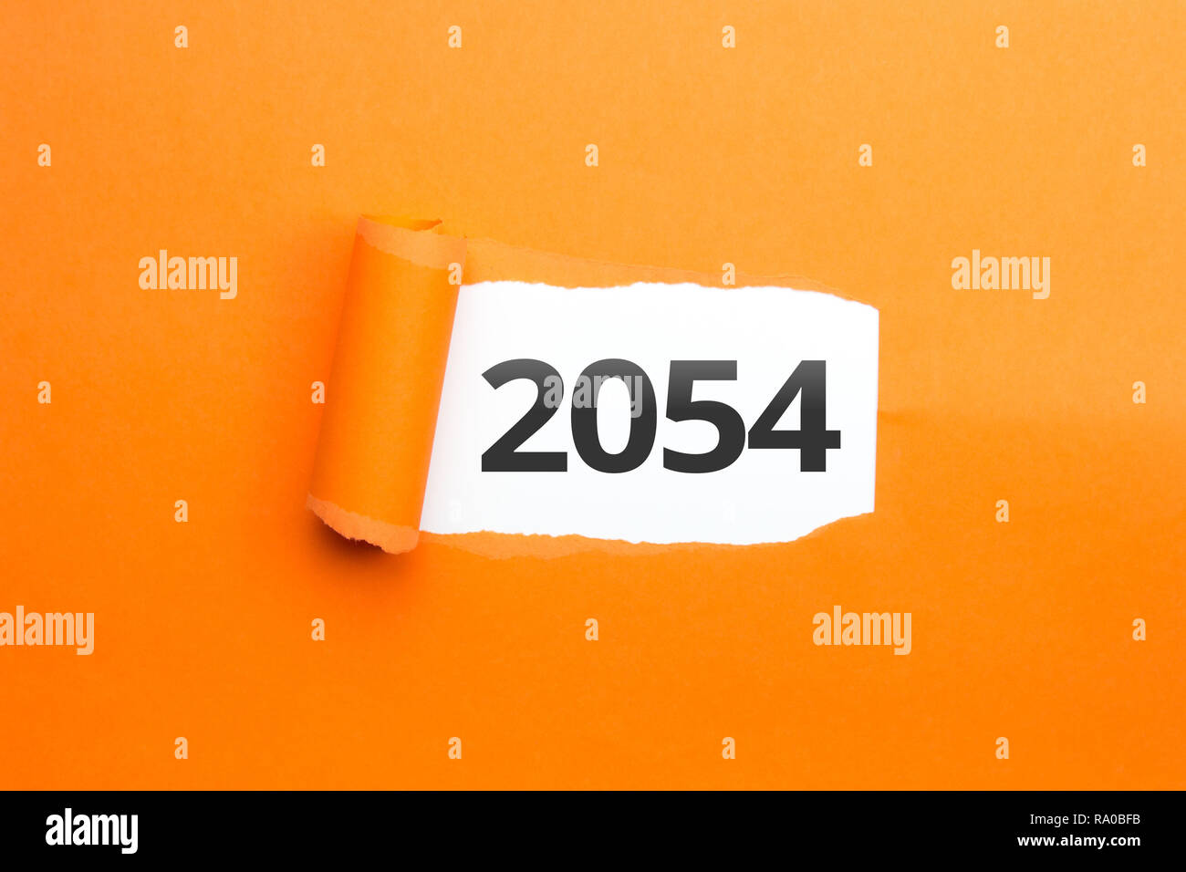 surprising Number / Year 2054 orange background - Stock Image