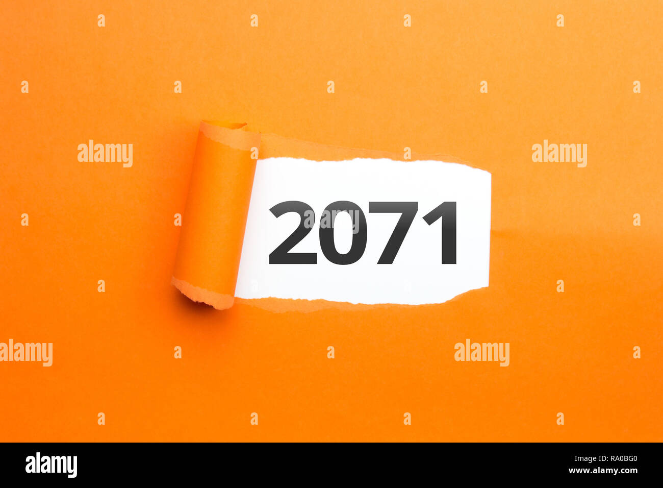 surprising Number / Year 2071 orange background - Stock Image