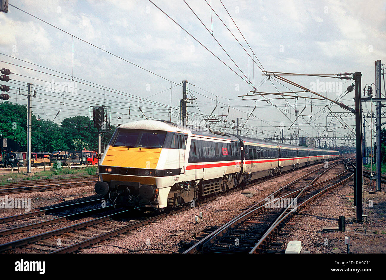 intercity swallow high resolution stock photography and images alamy https www alamy com a class 91 electric locomotive number 91003 heads north with an east coast main line intercity service at alexandra palace on the 1st july 1994 image229890781 html