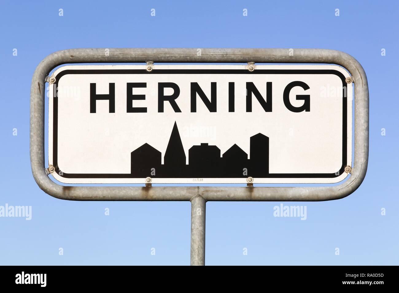 Herning city road sign in Denmark Stock Photo