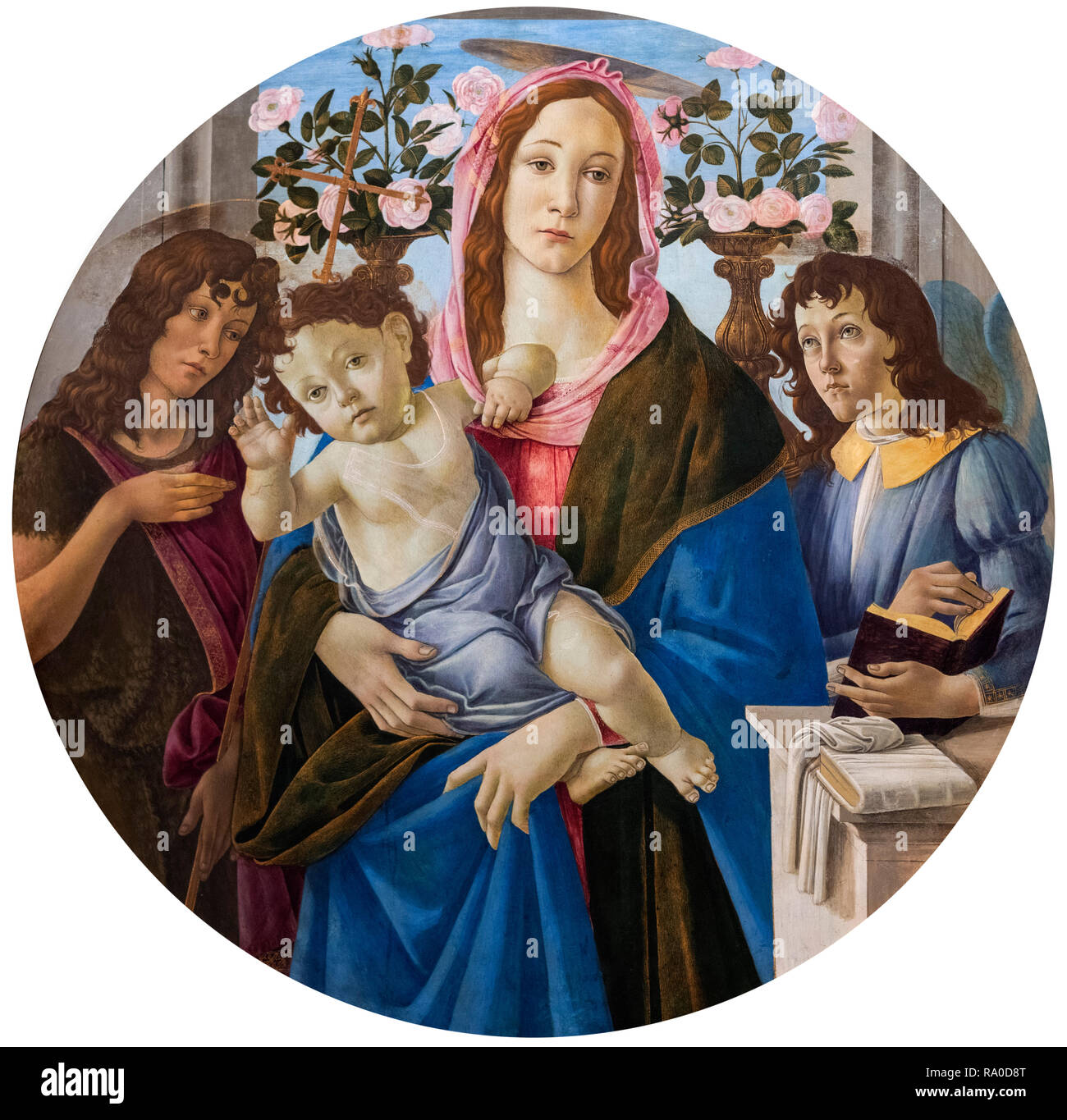 Virgin and Child with Saint John the Baptist and Angel by Sandro Botticelli (Alessandro di Mariano di Vanni Filipepi, c.1445-1510), tempera on wood, c.1470-1510 - Stock Image
