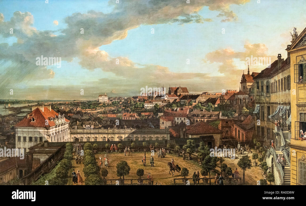 View of Warsaw from the Terrace of the Royal Castle by Bernardo Bellotto, (1721-1780), 1773 - Stock Image