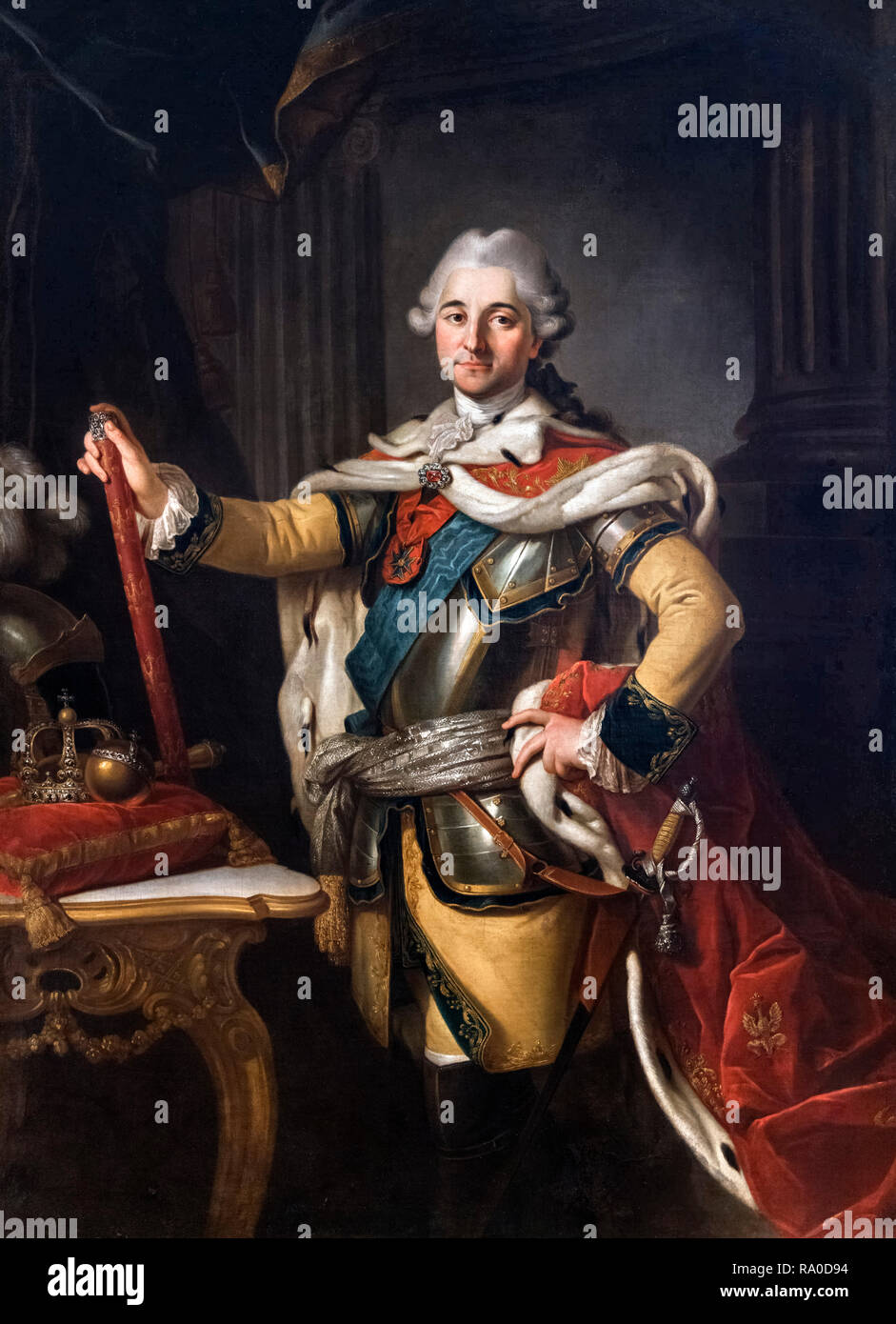Portrait of Stanisław August Poniatowski (1732-1798) by Per Krafft the Elder (1724-1793), oil on canvas, c.1767. Stanislaw II Augustus was King of Poland and Grand Duke of Lithuania from 1764 to 1795, and was the last monarch of the Polish–Lithuanian Commonwealth. - Stock Image