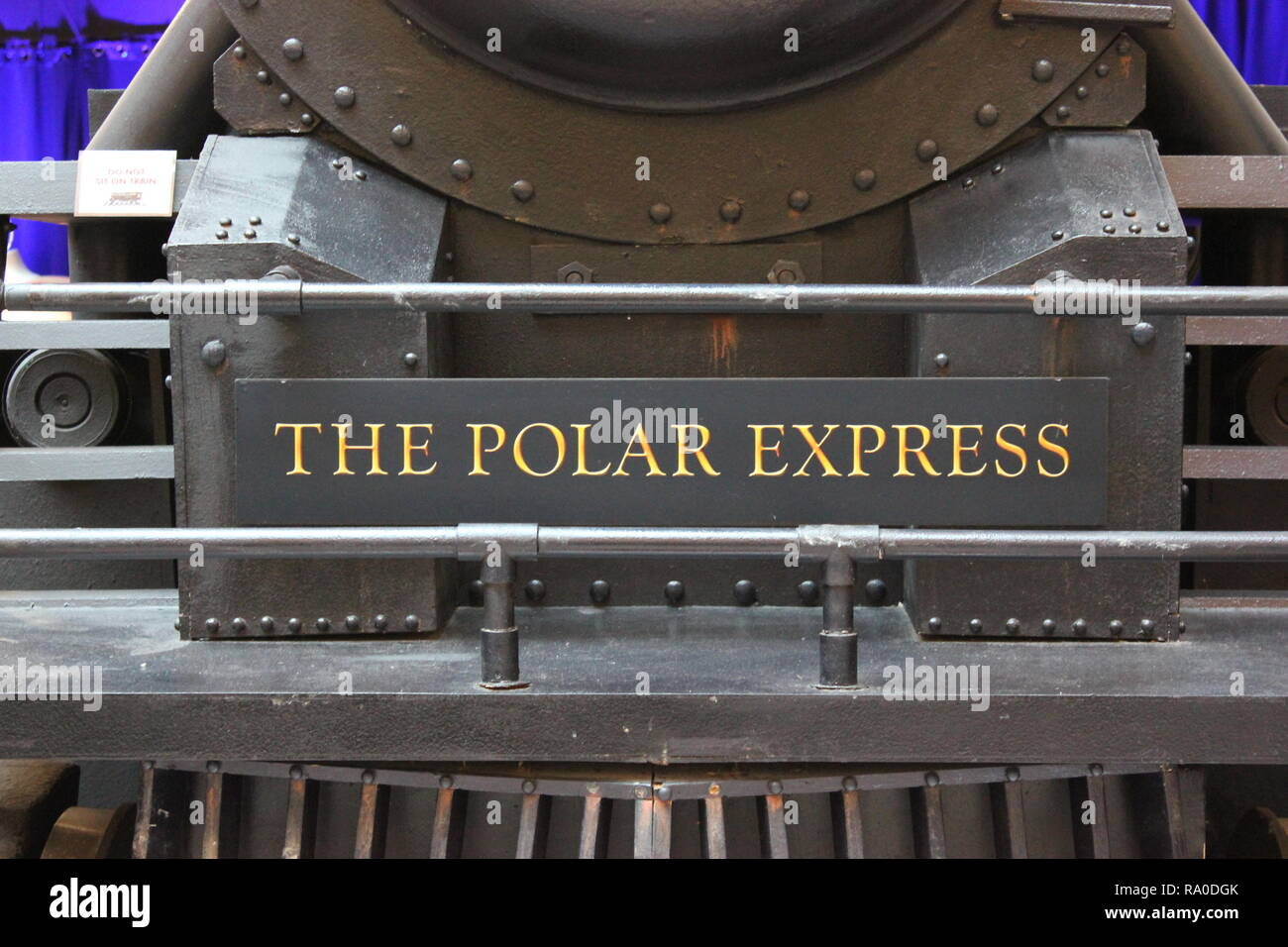 The Polar Express, Pere Marquette #1225, steam train engine locomotive as Christmas decorations at Union Station, a major transportation hub in Chicago, Illinois. - Stock Image