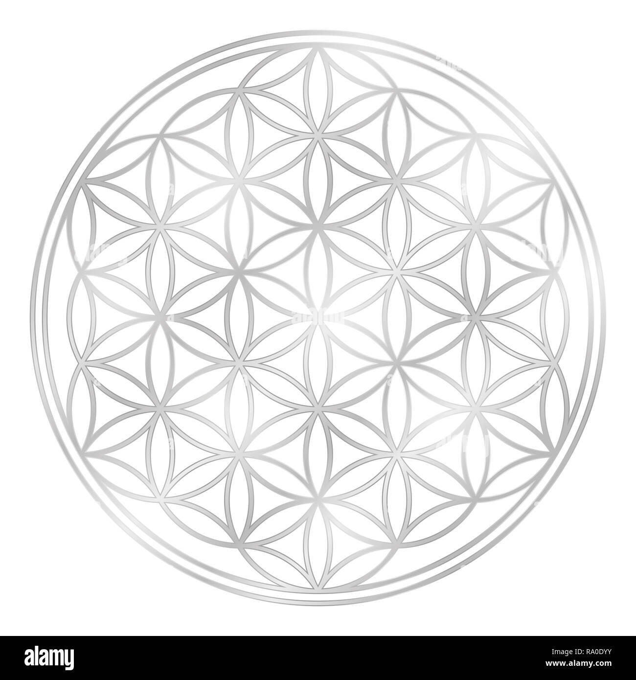 Silver Flower of Life, used for decoration or silver pendant. Geometrical symbol on white background. - Stock Image