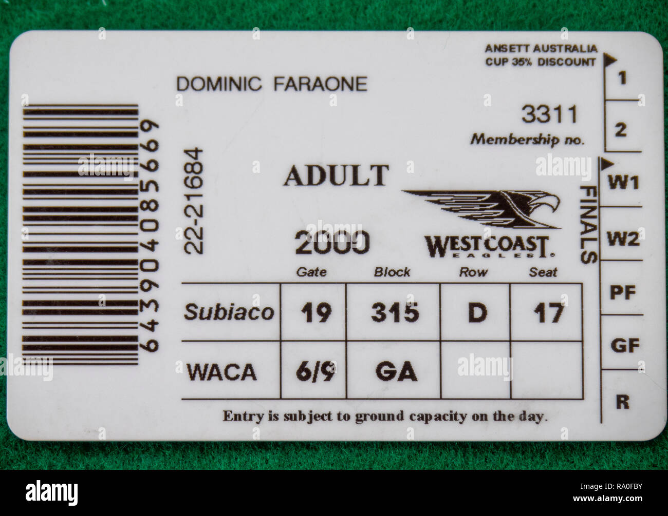 Back of West Coast Eagles Football Club membership card for the year 2000. - Stock Image
