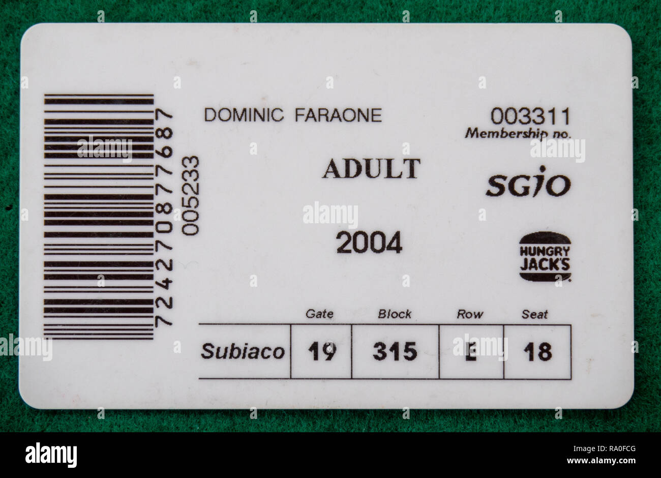 Back of West Coast Eagles Football Club membership card for the year 2004. - Stock Image