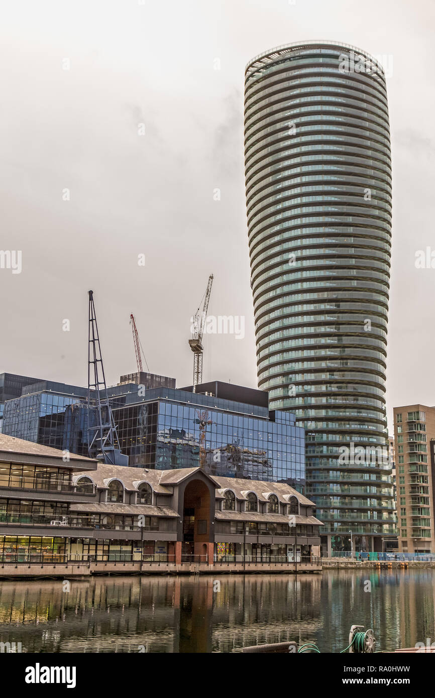 Arena Tower, formerly known as Baltimore Tower, a high-rise residential skyscraper on the Isle of Dogs near Canary Wharf in London. - Stock Image