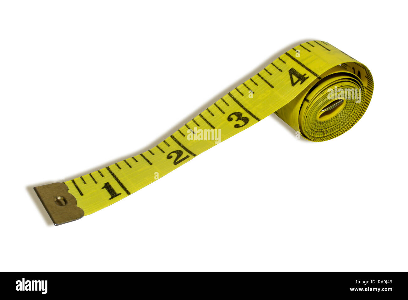 Rolled Yellow Measuring Tape Isolated On White Background. - Stock Image