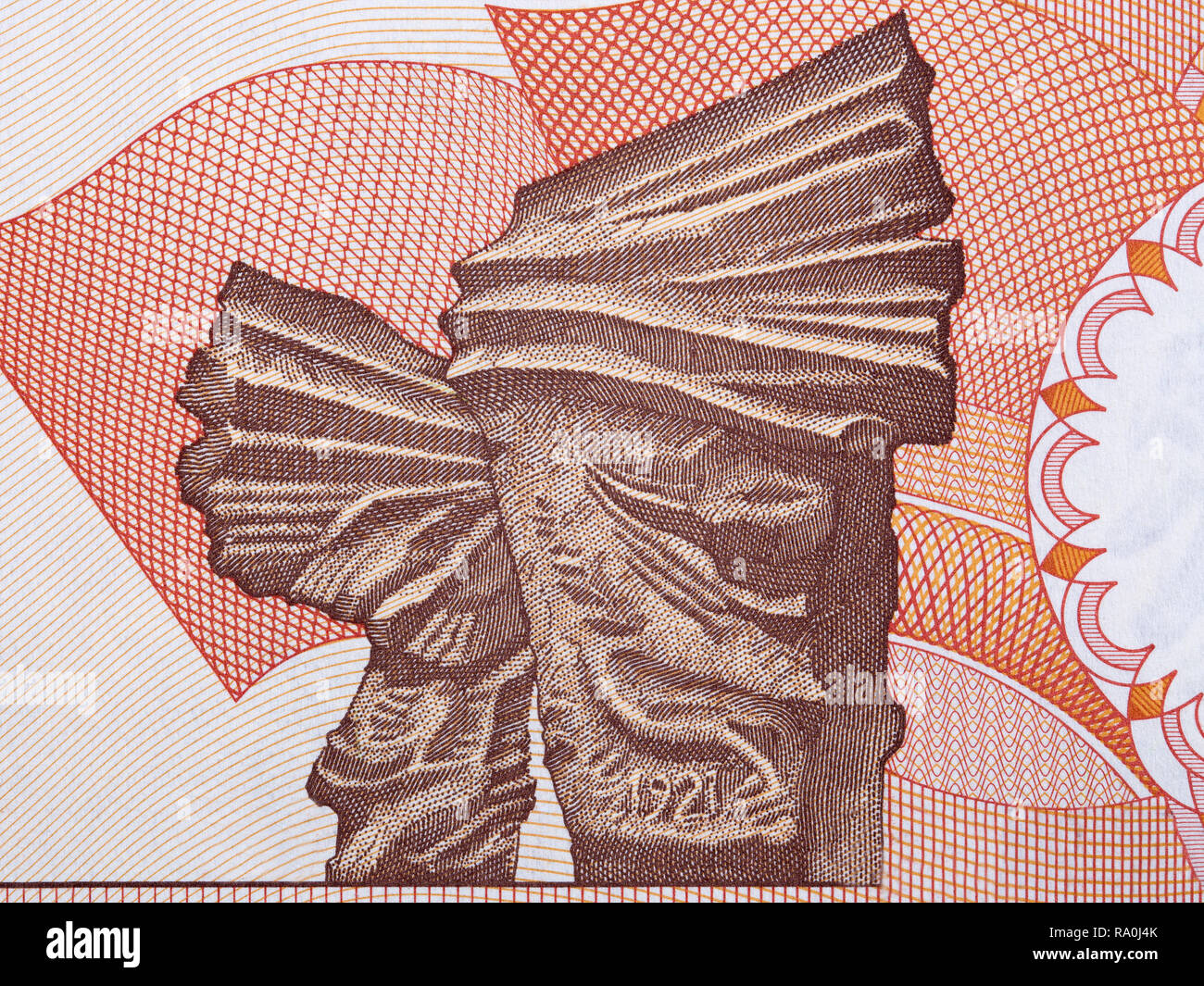 Image of the Silesian Insurgents' Monument from Polish money Stock Photo