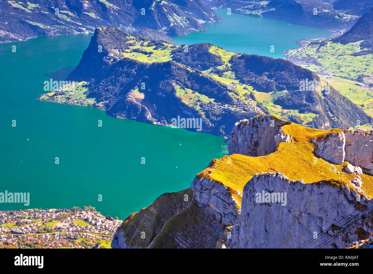 Lake Luzern and Alps mountain peaks aerial view from Mount Pilatus ...