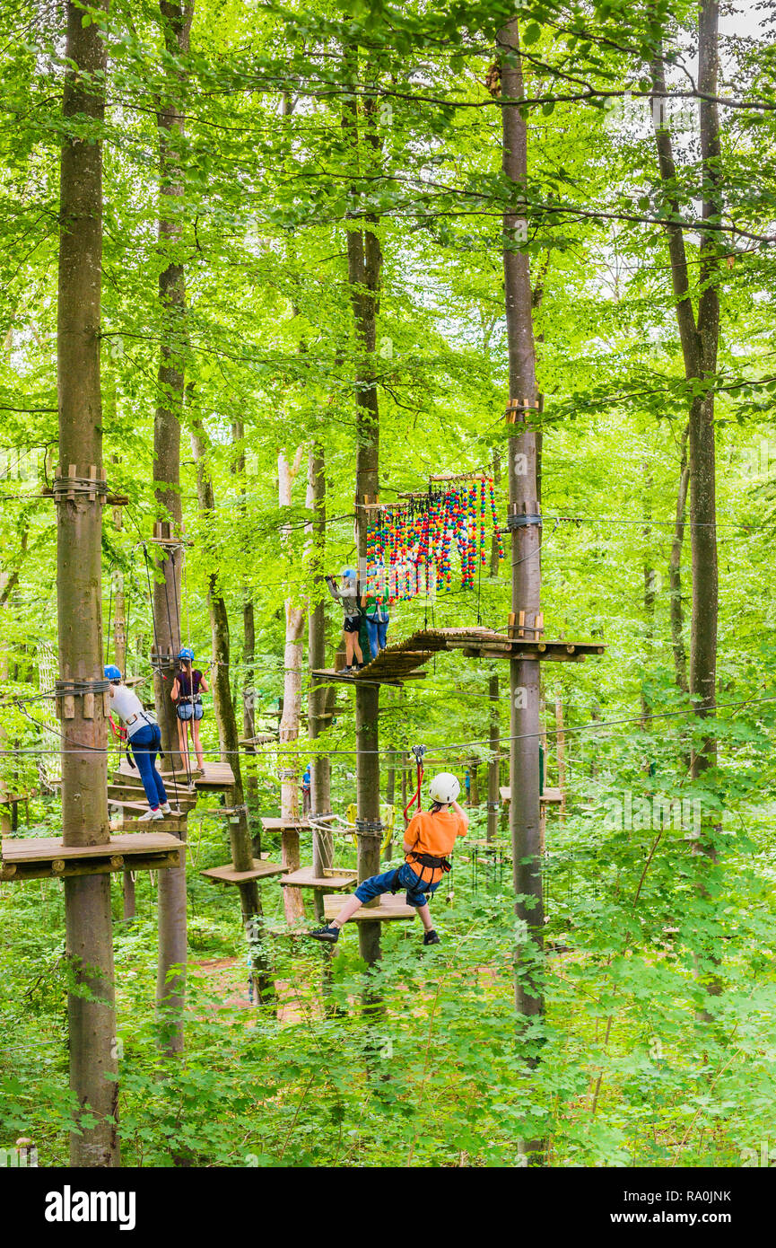 high ropes course in an outdoor adventure park - Stock Image