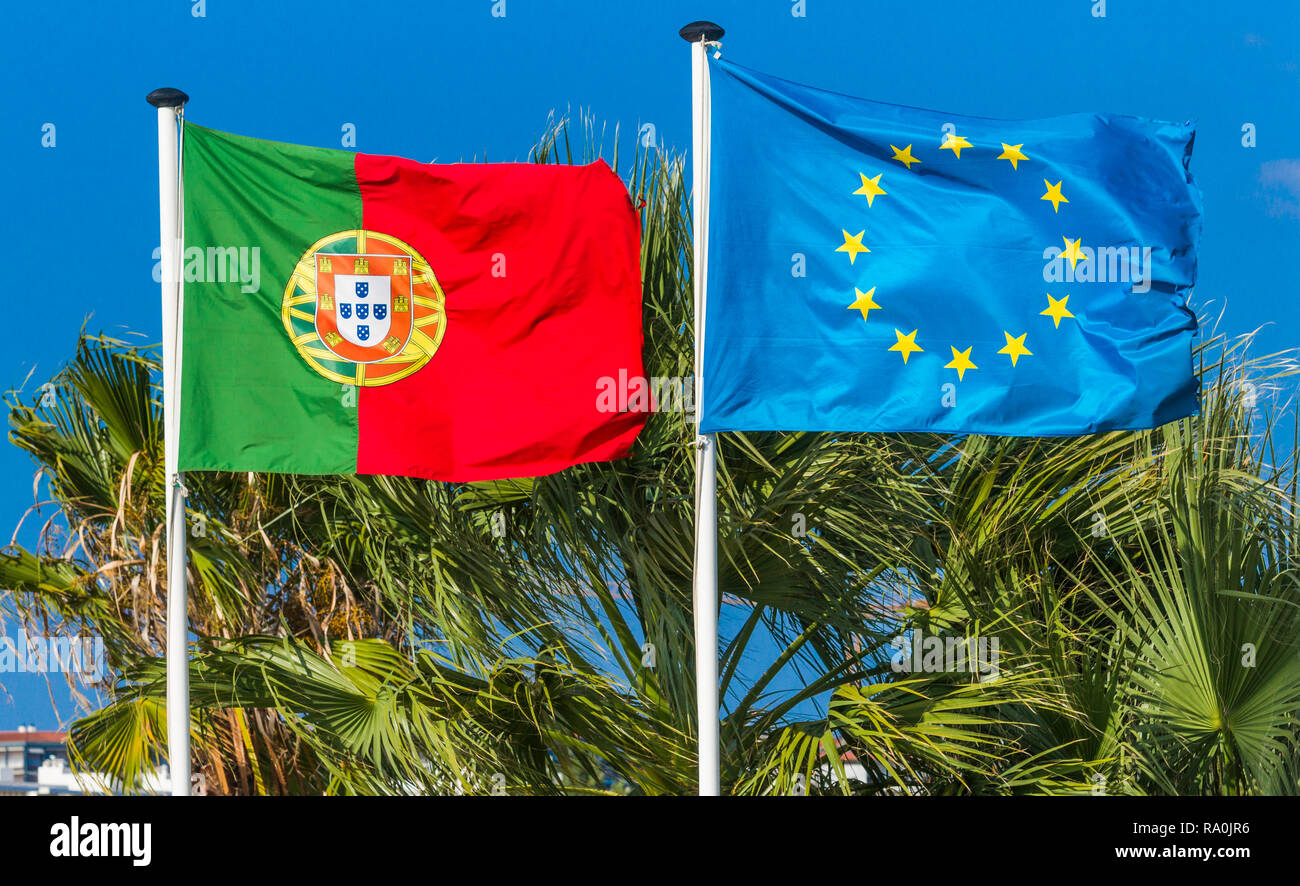 national flags of portugal and european union side by side - Stock Image