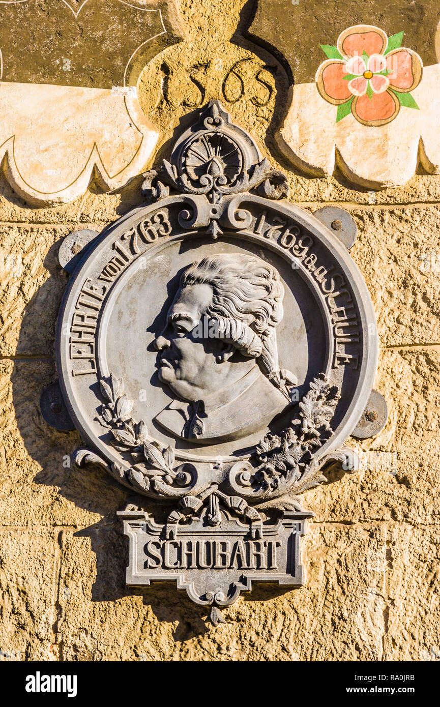memorial plaque at the schubart house - Stock Image