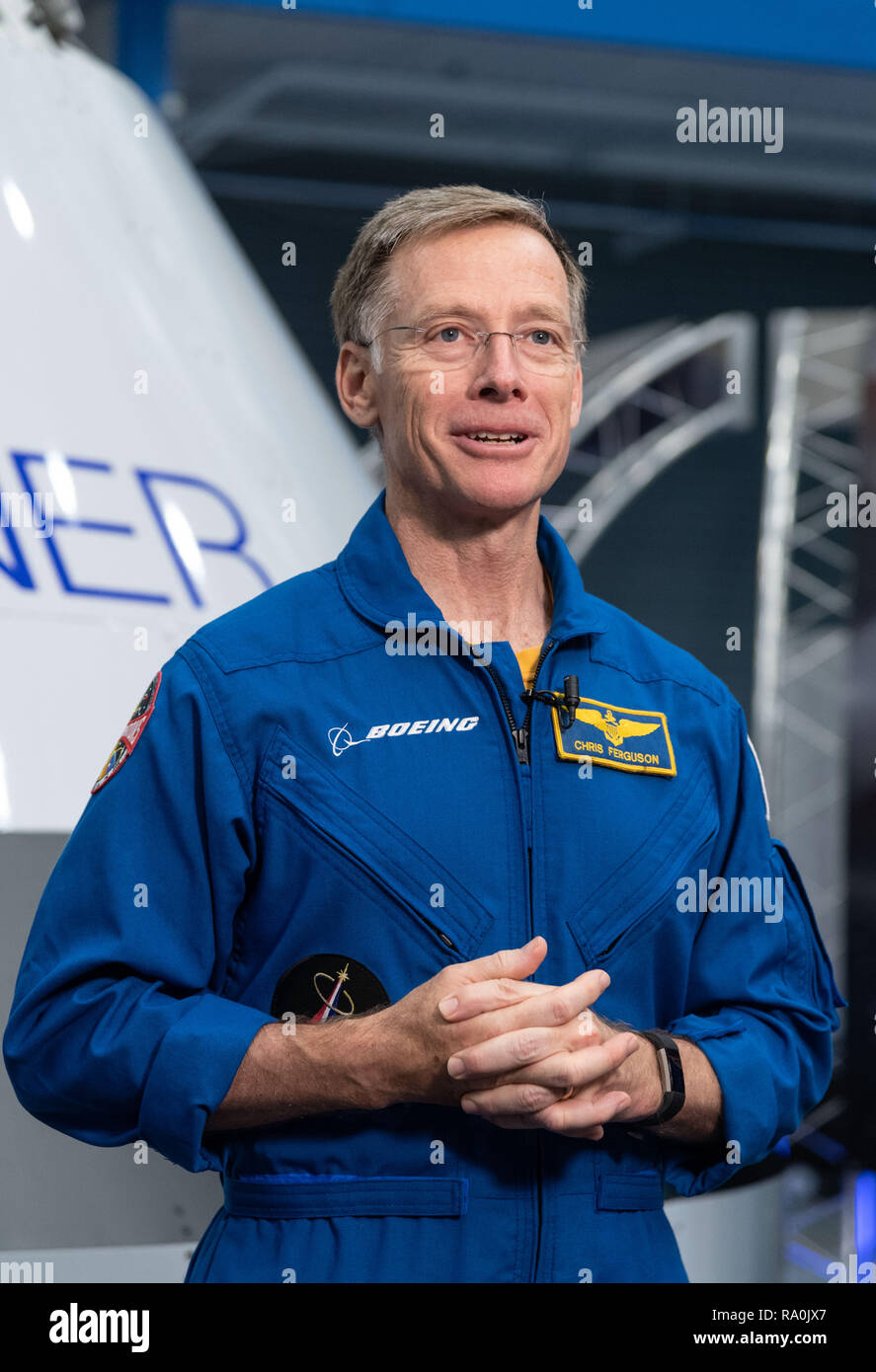 NASA Boeing commercial crew astronaut Chris Ferguson during the announcement of astronauts selected for the Boeing and SpaceX commercial crews at the Johnson Space Center August 3, 2018 in Houston, Texas. - Stock Image