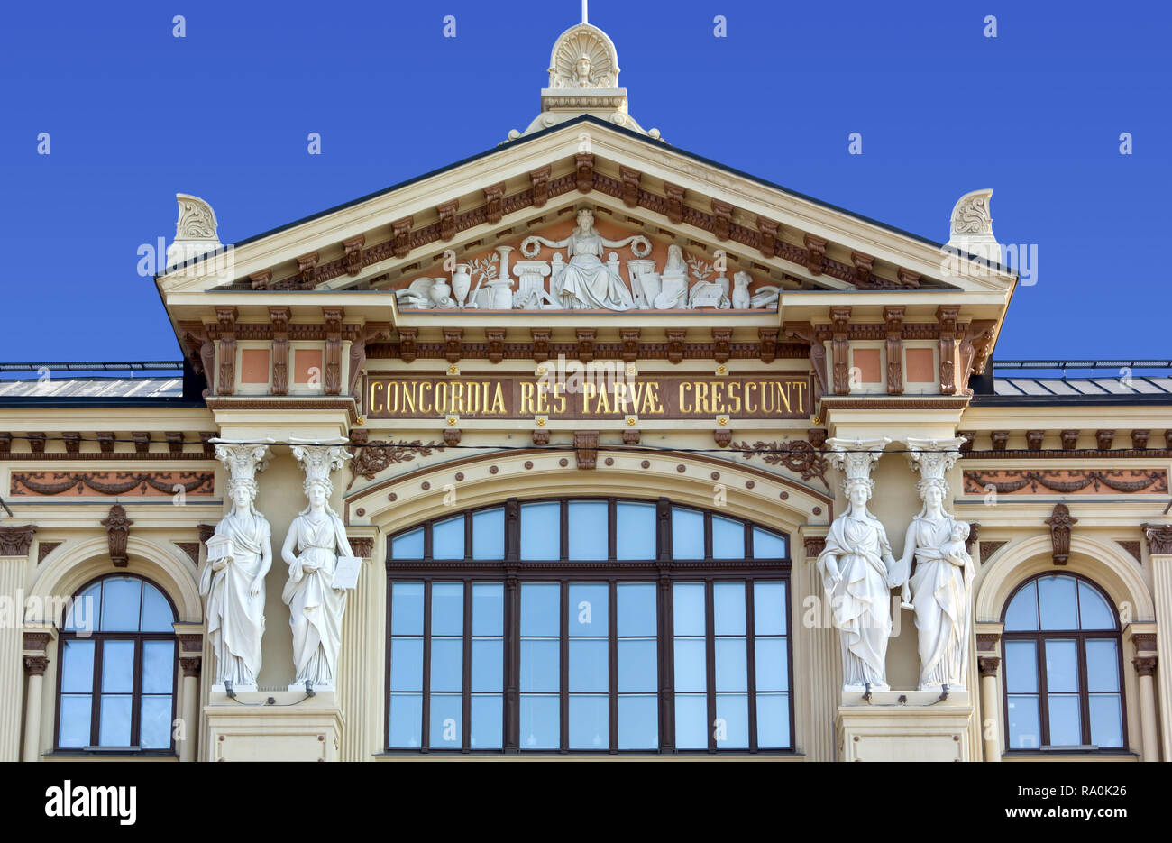 Close-Up on the facade of Ateneum Art Museum in Helsinki, Finland - Stock Image