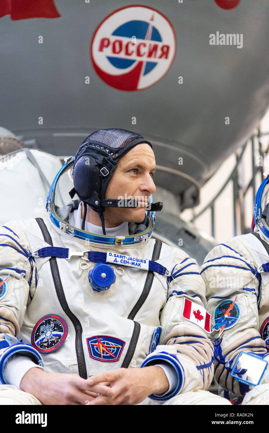International Space Station Expedition 58 crew member David Saint-Jacques of the Canadian Space Agency  outside the Soyuz simulator at the Gagarin Cosmonaut Training Center November 14, 2018 in Star City, Russia. Expedition 58 crew are scheduled to launch December 3rd from the Baikonur Cosmodrome in Kazakhstan for a six-and-a-half month mission on the International Space Station. - Stock Image